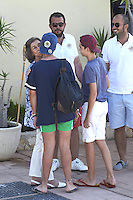 04-08-2016 Palma Queen Sofia and grandchildren Pablo Nicolas Urdangarin (R) and Felipe Juan Froilan Marichalar seen at the Calanova Nautic club in Palma de Mallorca, Spain.<br /> UPDATE IMAGES PRESS/PPE/Thorton<br /> - Spain and Netherlands out -