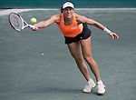Andrea Petkovic (GER) defeats Eugenie Bouchard (CAN 1-6, 6-3, 7-5 in the semis  at the Family Circle Cup in Charleston, South Carolina on April 5, 2014.