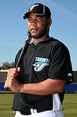 March 1, 2010:  Outfielder Edwin Encarnacion (15) of the Toronto Blue Jays poses for a photo during media day at Englebert Complex in Dunedin, FL.  Photo By Mike Janes/Four Seam Images