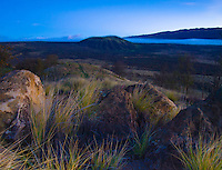 The countryside of Pu'uanahulu of the Big Island of Hawai'i at sunset.