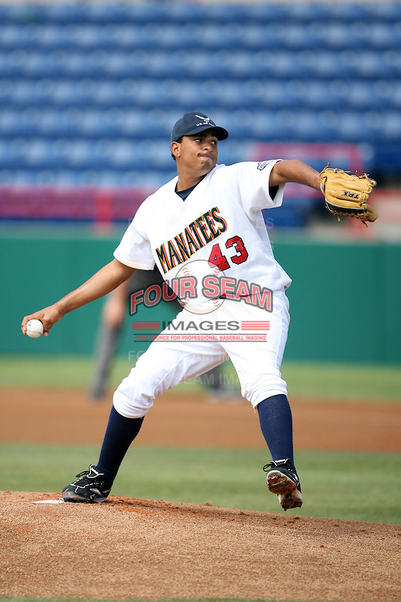 April 15, 2009:  Starting pitcher Amaury Rivas of the Brevard County Manatees, Florida State League Class-A affiliate of the Milwaukee Brewers, during a game at Space Coast Stadium in Viera, FL.  Photo by:  Mike Janes/Four Seam Images