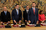 The Minister of Education Jose Ignacio Wert, Prime Minister Mariano Rajoy, King Felipe VI of Spain and the Vice President Soraya Sáenz de Santamaria during a royal audience with the board of the Carolina Fundation at Zarzuela Palace in Madrid, Spain. June 17, 2015.<br />  (ALTERPHOTOS/BorjaB.Hojas)