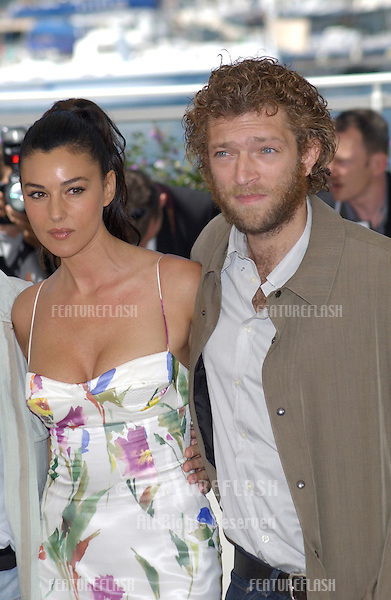 Actress MONICA BELLUCCI & actor VINCENT CASSEL at the Cannes Film Festival to promote their new movie Irreversible..24MAY2002.  © Paul Smith / Featureflash