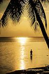 Local fishing at sunset on the coral coast on Viti Levu, Fiji