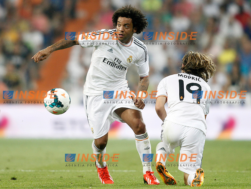 Real Madrid's Marcelo Vieira (l) and Luka Modric during La Liga match.August 18,2013. (ALTERPHOTOS/Acero) <br /> Football Calcio 2013/2014<br /> La Liga Spagna<br /> Foto Alterphotos / Insidefoto <br /> ITALY ONLY