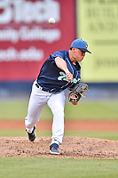 Asheville Tourists relief pitcher Boby Johnson (22) delivers a pitch during a game against the Augusta GreenJackets at McCormick Field on July 13, 2019 in Asheville, North Carolina. The GreenJackets defeated the Tourists 6-4. (Tony Farlow/Four Seam Images)