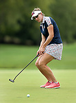 DES MOINES, IA - AUGUST 20: USA's Brittany Lang tries to coax her birdie putt to the cup on the 9th hole during her singles match Sunday morning at the 2017 Solheim Cup in Des Moines, IA. (Photo by Dave Eggen/Inertia)