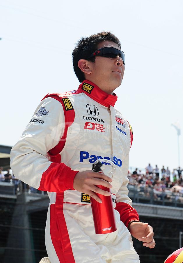 May 30, 2010; Indianapolis, IN, USA; IndyCar Series driver Hideki Mutoh during the Indianapolis 500 at the Indianapolis Motor Speedway. Mandatory Credit: Mark J. Rebilas-