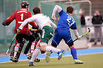 GER - Mannheim, Germany, March 19: During the 1. Bundesliga Herren hockey match between Mannheimer HC (blue) and Uhlenhorst Muehlheim (white) on March 19, 2016 at Mannheimer HC in Mannheim, Germany. Final score 1-1 (HT 0-0). (Photo by Dirk Markgraf / www.265-images.com) *** Local caption *** Tobias Terber #15 of HTC Uhlenhorst Muehlheim, Timm Haase #27 of Mannheimer HC