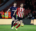 Chris Basham of Sheffield Utd and Declan Rice of West Ham United during the Premier League match at Bramall Lane, Sheffield. Picture date: 10th January 2020. Picture credit should read: Simon Bellis/Sportimage