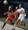 Cailey Welch #10 of North Shore, right, chases after a loose ball during the Nassau County varsity girls soccer Class A final against Manhasset at Cold Spring Harbor High School on Friday, Nov. 3, 2017. She scored two goals in North Shore's 4-2 win.