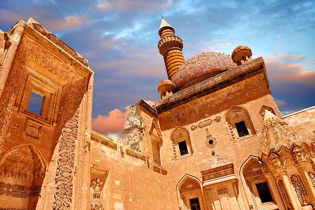 Courtyard of the 18th Century Ottoman architecture of the Ishak Pasha Palace (Turkish: İshak Paşa Sarayı) ,  Ağrı province of eastern Turkey.