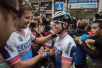 Peter Sagan (SVK/Bora-Hansgrohe) is congratulated by his brother Juraj Sagan (SVK/BORA-hansgrohe) after crowning himself World Champion for the 3rd (successive) time <br /> <br /> Men Elite Road Race<br /> <br /> UCI 2017 Road World Championships - Bergen/Norway