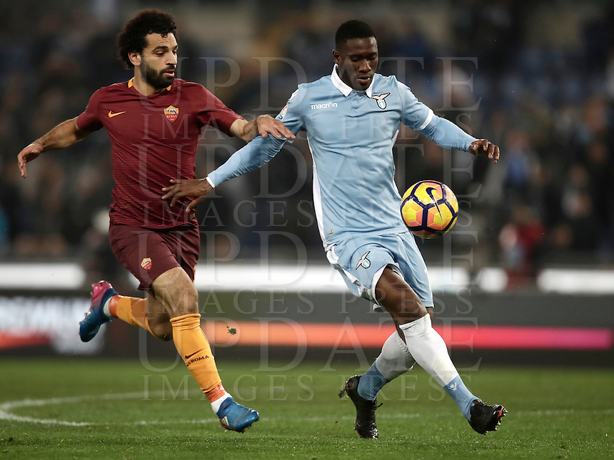 Calcio, Serie A: Roma, stadio Olimpico, 1marzo 2017.<br /> Lazio's Jacinto Quissanga Bastos (r) in action with Roma's Mohamed Salah (l) during the Italian TIM Cup 1st leg semifinal football match between Lazio and AS Roma at Rome's Olympic stadium, on March 1, 2017.<br /> UPDATE IMAGES PRESS/Isabella Bonotto