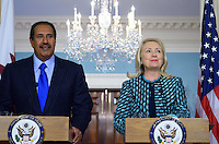 January 11, 2012  (Washington, DC)  U.S. Secretary of State Hillary Rodham Clinton and Qatari Foreign Minister Sheikh Hamad bin Jassim bin Jabor Al Thani hold a press availability in the Treaty Room at the State Department in Washington after a bilateral meeting.  (Photo by Don Baxter/Media Images International)