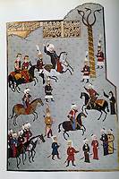 Hagia Sophia:  Mohammed II and his attendants riding jubilantly in the Hippodrome.  Illuminated manuscript.