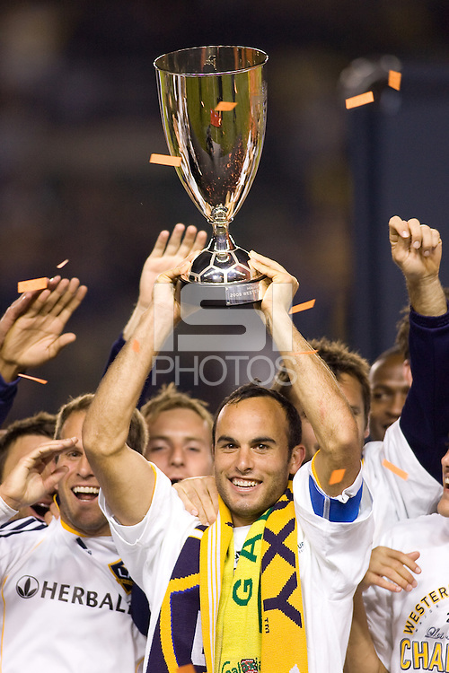 LA Galaxy midfielder Landon Donovan celebrates winning the Western Conference Final. The LA Galaxy defeated the Houston Dynamo 2-0 in OT to win the MLS Western Conference Final at Home Depot Center stadium in Carson, California on Friday November 13, 2009...