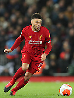 24th February 2020; Anfield, Liverpool, Merseyside, England; English Premier League Football, Liverpool versus West Ham United; Alex Oxlade-Chamberlain of Liverpool  sprints forward with the ball