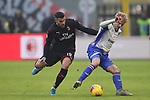Morten Thorsby of Sampdoria shields the ball from Theo Hernandez of AC Milan during the Serie A match at Giuseppe Meazza, Milan. Picture date: 6th January 2020. Picture credit should read: Jonathan Moscrop/Sportimage