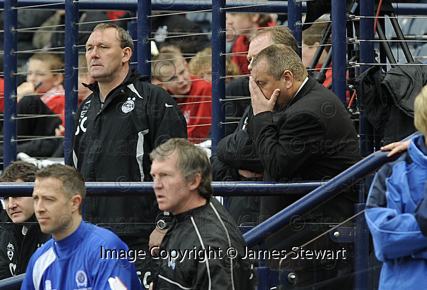 12/04/2008    Copyright Pic: James Stewart.File Name : sct_jspa35_qots_v_aberdeen.A DEJECTED LOOKING ABERDEEN MANAGER JIMMY CALDERWOOD WATCHES HIS SIDE BEATEN BY QUEEN OF THE SOUTH....James Stewart Photo Agency 19 Carronlea Drive, Falkirk. FK2 8DN      Vat Reg No. 607 6932 25.Studio      : +44 (0)1324 611191 .Mobile      : +44 (0)7721 416997.E-mail  :  jim@jspa.co.uk.If you require further information then contact Jim Stewart on any of the numbers above........