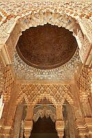 Arabesque Moorish stalactite or morcabe ceilings,  Palacios Nazaries  of the Alhambra. Granada, Andalusia, Spain.