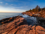 Morning on the rocky granite coastline along Ocean Drive in Acadia National Park, Maine, USA