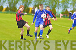 Mark Egan Mastergeeha tackles Killarney Athletic Jason Ahern during their game in Mastergeeha on Saturday