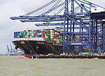 Cape Kortia container ship at quayside, Port of Felixstowe, Suffolk, England, UK