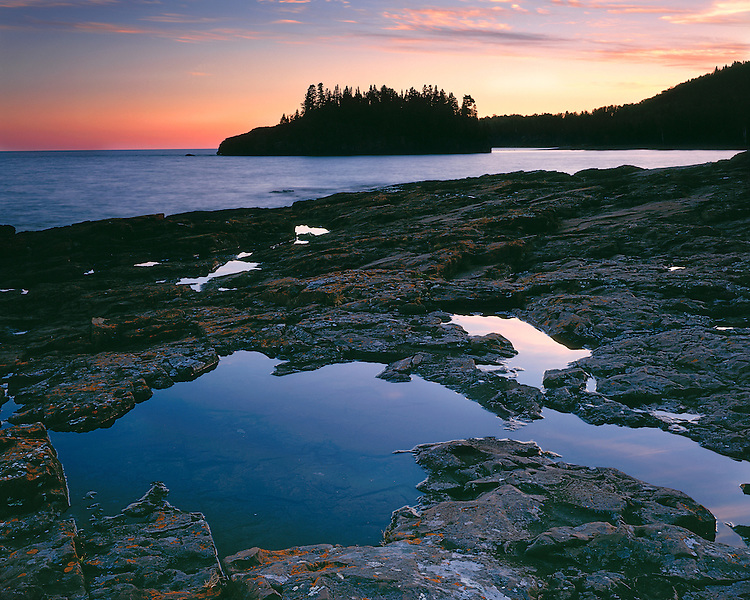 Sunset glow on Lake Superior; Splitrock Lighthouse State Park, MN
