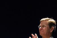 Landesparteitag der nordrhein-westfaelischen FDP am Sonntag den 14. Maerz 2010 in Siegen.<br />Im Bild: Der Bundesvorsitzende und Bundesaussenminister Guido Westerwelle.<br />14.3.2010: Siegen<br />Copyright: Christian-Ditsch.de<br />[Inhaltsveraendernde Manipulation des Fotos nur nach ausdruecklicher Genehmigung des Fotografen. Vereinbarungen ueber Abtretung von Persoenlichkeitsrechten/Model Release der abgebildeten Person/Personen liegen nicht vor. NO MODEL RELEASE! Don't publish without copyright Christian-Ditsch.de, Veroeffentlichung nur mit Fotografennennung, sowie gegen Honorar, MwSt. und Beleg. Konto: I N G - D i B a, IBAN DE58500105175400192269, BIC INGDDEFFXXX, Kontakt: post@christian-ditsch.de Urhebervermerk wird gemaess Paragraph 13 UHG verlangt.]
