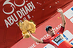 Elia Viviani (ITA) Team Sky wins Stage 2, The Capital Stage, and takes over the race lead of the 2015 Abu Dhabi Tour running 129 km from Yas Marina Circuit to Yas Mall, Abu Dhabi. 9th October 2015.<br /> Picture: ANSA/Angelo Carconi | Newsfile