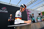 German Champion Pascal Ackermann (GER) Bora-Hansgrohe at sign on before the start of Stage 12 of the 2019 Giro d'Italia, running 158km from Cuneo to Pinerolo, Italy. 23rd May 2019<br /> Picture: Gian Mattia D'Alberto/LaPresse | Cyclefile<br /> <br /> All photos usage must carry mandatory copyright credit (© Cyclefile | Gian Mattia D'Alberto/LaPresse)