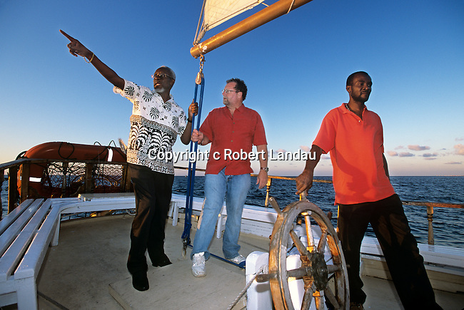 Peter Greenberg with Jamaican Prime Miinister aboard yacht