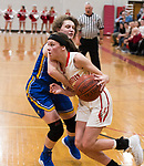 WINSTED,  CT-021919JS05-  Northwestern's Emma Propfe (11) drives to the basket past Gilbert's Maryellen Marino (24) during their Berkshire League semi-final game Tuesday at Northwestern Regional High School in Winsted. <br /> Jim Shannon Republican American