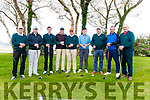 Jimmy Burren West Munster Qualifier at the Killarney Golf and Fishing Club last Saturday morning. Pictured are l-r Connor Maher, Shane Cawley, Che Flaherty, Ger McSweeney, David Daly, Stephen Murphy, Jimmy Sugrue, Gerald O'Connell and Dan Brosnan from the Waterville Golf Club.