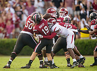 Hawgs Illustrated/BEN GOFF <br /> Randy Ramsey (10), Arkansas linebacker, forces Jake Bentley (19), South Carolina quarterback, to fumble in the second quarter Saturday, Oct. 7, 2017, during the game at Williams-Brice Stadium in Columbia, S.C.