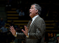 California head coach Mike Montgomery argues with the referee about a bad call during the game against Pepperdine at Haas Pavilion in Berkeley, California on November 13th, 2012.  California defeated Pepperdine, 79-62.