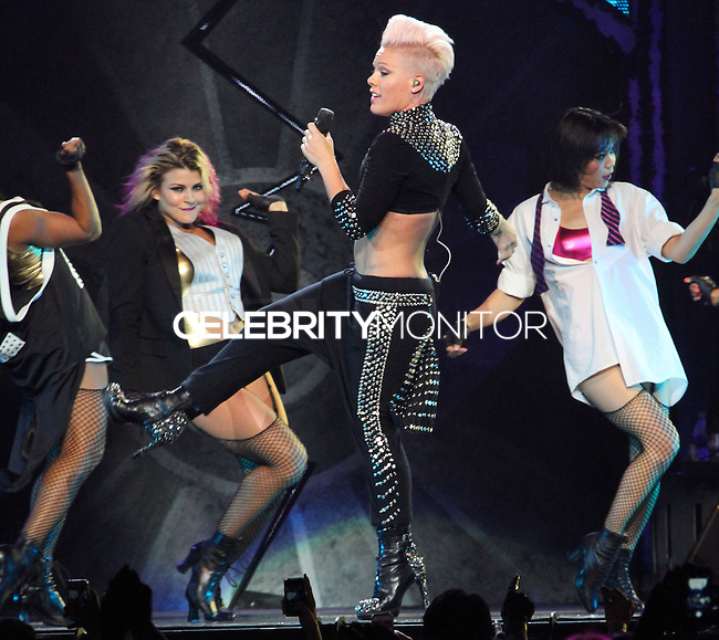 "LOS ANGELES, CA - OCTOBER 12: Singer P!nk performs during ""The Truth About Love"" Tour Concert at Staples Center on October 12, 2013 in Los Angeles, California. (Photo by Xavier Collin/Celebrity Monitor)"