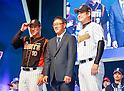 Cho Won-woo, Hwang Jae-gyun and Son Seung-Lak, Mar 28, 2016 : South Korean baseball team Lotte Giants' manager Cho Won-woo (C), infielder Hwang Jae-gyun (L) and closer Son Seung-Lak pose during a media day and fanfest of 10 clubs in the Korea Baseball Organization (KBO) in Seoul, South Korea. (Photo by Lee Jae-Won/AFLO) (SOUTH KOREA)