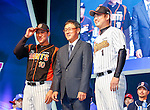 Cho Won-woo, Hwang Jae-gyun and Son Seung-Lak, Mar 28, 2016 : South Korean baseball team Lotte Giants' manager Cho Won-woo (C), infielder Hwang Jae-gyun (L) and closer Son Seung-Lak pose during a media day and fanfest of 10 clubs in the Korea Baseball Organization (KBO) in Seoul, South Korea. (Photo by Lee Jae-Won/AFLO) (SOUTH KOREA)