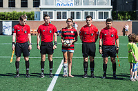 Boston, MA - Saturday June 24, 2017: Game officials during a regular season National Women's Soccer League (NWSL) match between the Boston Breakers and the North Carolina Courage at Jordan Field.