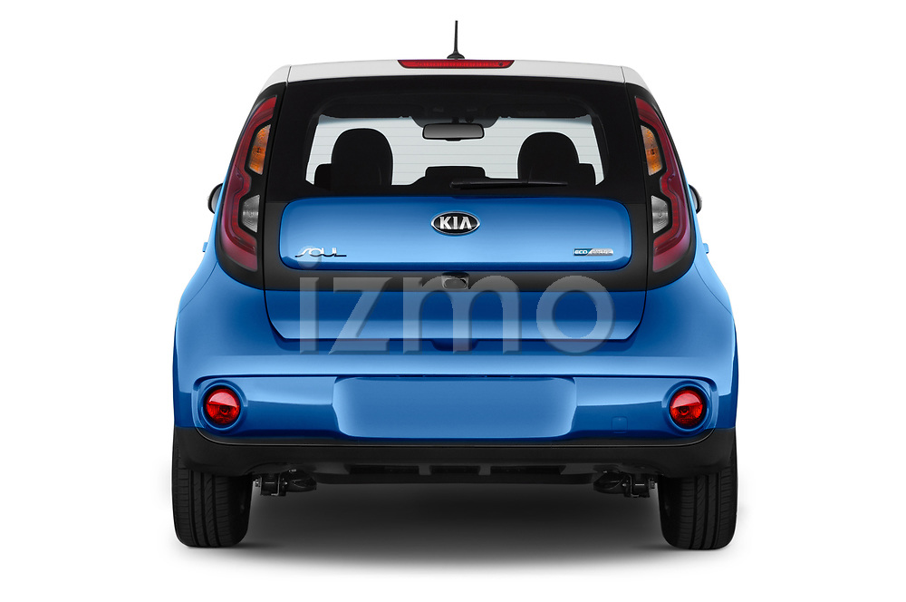 Straight rear view of 2017 KIA Soul EV Base 5 Door Hatchback stock images