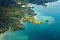 Aerial view of the Osa Peninsula coastline, Costa Rica. May