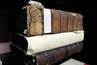 Dilapidated books like this 1660 Bible from Cambridge are used as teaching tools at the Rare Book School summer camp held at the University of Virginia in Charlottesville, Va. The annual camp hosts scholars and other professionals who work with rare books. Photo/Andrew Shurtleff
