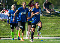 Kansas City, MO - Sunday July 02, 2017:  Sydney Leroux, Nicole Barnhart and Catherine Parkhill warming up before a regular season National Women's Soccer League (NWSL) match between FC Kansas City and the Houston Dash at Children's Mercy Victory Field.