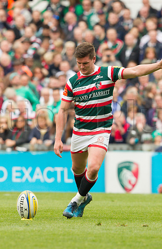 April 29th 2017, Welford Road Stadium, Leicester, England; Aviva Premier league rugby, Leicester Tigers versus Sale;  Freddie Burns kicks a penalty for Tigers