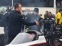 Oct 1, 2016; Mohnton, PA, USA; Crew member for NHRA top fuel driver Steve Torrence during qualifying for the Dodge Nationals at Maple Grove Raceway. Mandatory Credit: Mark J. Rebilas-USA TODAY Sports