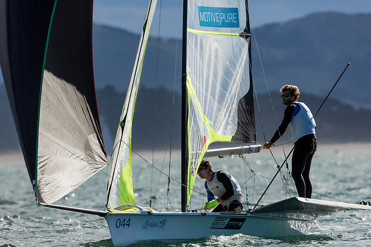 SANTANDER, SPAIN - SEPTEMBER 17:  49er - USA150 - Thomas Barrows / Joseph Morris in action during Day 6 of the 2014 ISAF Sailing World Championships on September 17, 2014 in Santander, Spain.  (Photo by MickAnderson/SAILINGPIX via Getty Images)