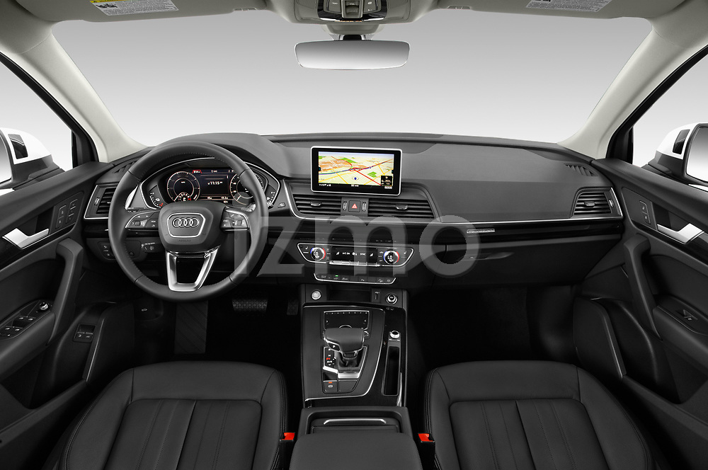 Stock photo of straight dashboard view of a 2020 Audi Q5 Premium 5 Door SUV