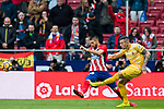 Yannick Ferreira Carrasco (L) of Atletico de Madrid battles for the ball with Francisco Aday Benitez of Girona FC during the La Liga 2017-18 match between Atletico de Madrid and Girona FC at Wanda Metropolitano on 20 January 2018 in Madrid, Spain. Photo by Diego Gonzalez / Power Sport Images